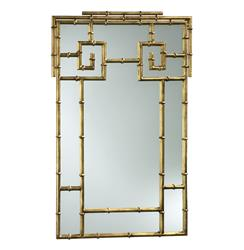 Hollywood Regency Faux Bamboo Large Gold Foyer Mirror | CYAN-03033