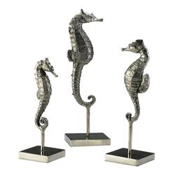 Biscayne Coastal Beach Antique Silver Seahorse Trio Sculpture