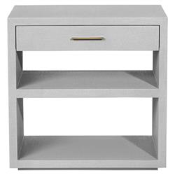 Interlude Livia Modern Grey Upholstered Wood Nightstand