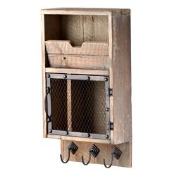 Casey Industrial Reclaimed Wood Farmhouse Wall Storage Organizer | CYAN-04880