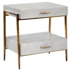 Interlude Morand Modern Grey Faux Shagreen Antique Gold Metal Nightstand