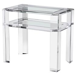 Interlude Surrey Modern Acrylic Glass Nightstand