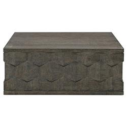 Landon Modern Masculine Charcoal Brown Fancy Face Wood Square Block Coffee Table