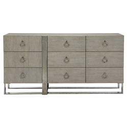 Landon Modern Masculine Grey Aluminum Base Wood Dresser