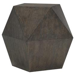 Landon Modern Masculine Charcoal Wood Geometric Side End Table