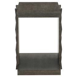 Landon Modern Masculine Charcoal Brown Fancy Face Wood Side End Table