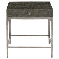Landon Modern Masculine Charcoal Brown Wood Aluminum Base Side End Table