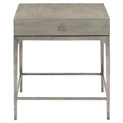 Landon Modern Masculine Grey Wood Aluminum Base Side End Table