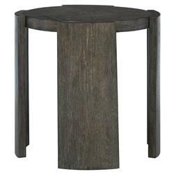 Landon Modern Masculine Charcoal Brown Wood Round Side End Table