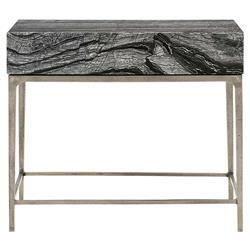 Landon Modern Masculine Black Wood Silver Aluminum Nightstand