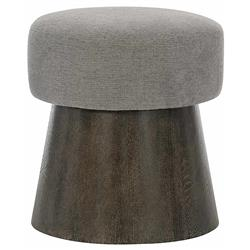 Landon Modern Masculine Grey Upholstered Charcoal Brown Wood Round Conical Stool