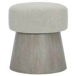 Landon Modern Masculine Beige Upholstered Grey Wood Round Conical Stool
