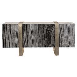 Landon Modern Masculine Black Wood Silver Aluminum Media Cabinet