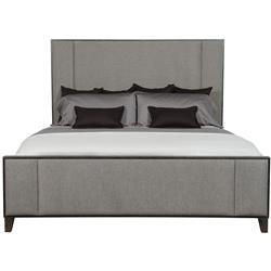 Landon Modern Masculine Grey Upholstered Panel Charcoal Brown Wood Bed - Queen