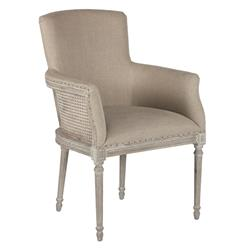 Moss French Country Barley Linen Petite Dining Arm Chair | AG-CH128