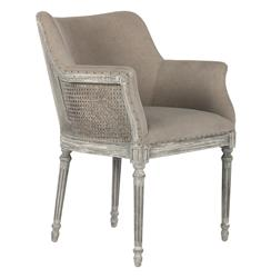 Pair Sue French Country Distressed Gray Caned Dining Arm Chair