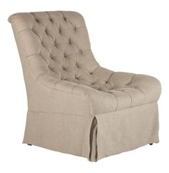 Roger Contoured French Country Tufted Linen Salon Chair