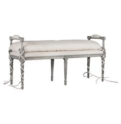Andrew French Country Classic Stone Grey Oak Vanity Bench | AG-F234