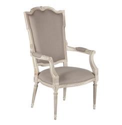 Josie Elegant French Country Bleached Oak Wood Arm Chair