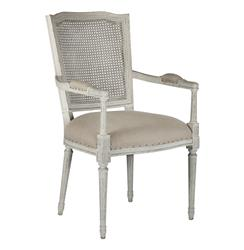 French Country Ethan Painted Gray Caned Back Dining Chair