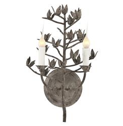 French Country Dried Cotton Stem Organic Metal Sconces - Pair | AG-WL261