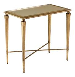 Alina Hollywood Regency Antique Gold Leaf Side End Table | 125056