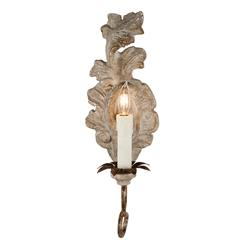 Verdure French Country Carved Wood Leaf Wall Sconce