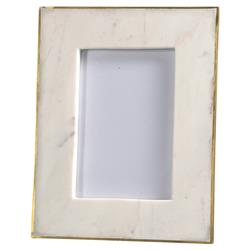 Estelle Modern Classic Gold Edge White Marble Picture Frame - 4x6