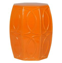 Modern Coastal Beach Bright Orange Treillage Garden Seat Stool