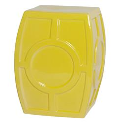 Modern Coastal Beach Yellow Oculus Garden Stool