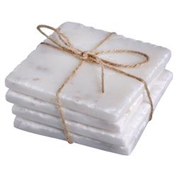 Yeng Modern Classic Square White Marble Coaster - Set of 4