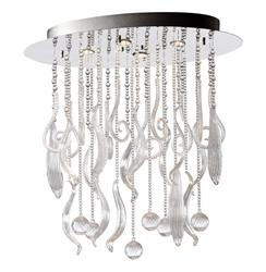 Oval Mirabella Clear Glass Murano Style 4 Light Ceiling Mount - Small | CYAN-04668