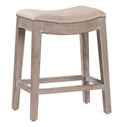 Pair French Country Vivian Brass Nail Heads Linen Counter Stool | SCH-220145