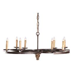 Griffin Rustic Spiral Iron Low Profile 8 Light Chandelier