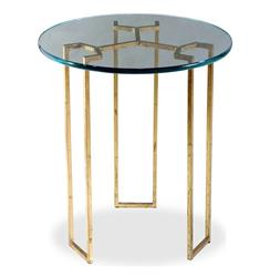 Triad Modern Gold Leaf and Glass Side Table