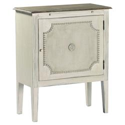Landry Painted White Burlap French Country Side Table | SCH-220180