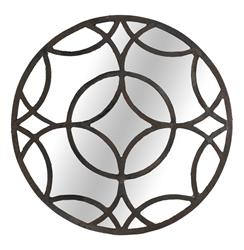 Melanie Blackened Iron Round Geometric Motif Mirror | SCH-220320