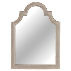 Phillip French Country Carved Wood Burlap Antique White Mirror | SCH-220250