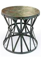 Kordofan Dark Antique Verdigris Green Hammered Iron Rustic Side Table