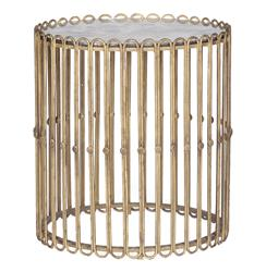 Beatrice Hollywood Regency Gilded Iron Mirror Drum Side Table