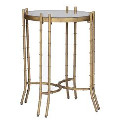 Merrill Faux Bamboo Hollywood Regency Round Side Table