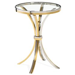 Interlude Victoria Steel Brass Round Side End Table