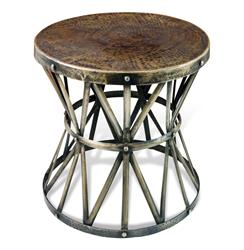 Zemico Dark Antique Brass Hammered Rustic Iron Side Table | 125067