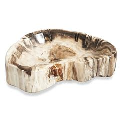 Modern Mataram Natural Polished Petrified Wood Bowl- Medium | 935022
