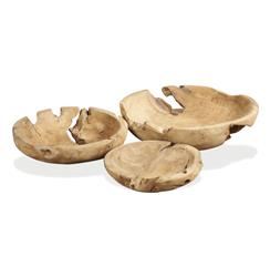 Java Natural Teak Wood Decorative Bowls- Set of 3 | 935018