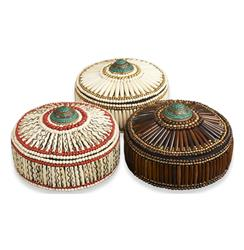 Pashtun Global Colored Bone Inlay Decorative Boxes- Set of 3 | 825007