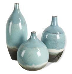 Oslo Beach Style Aqua Blue Round Bud Vase Trio