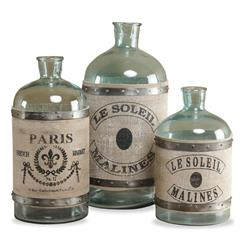 French Country Antique Green Charmont Clear Glass Bottles