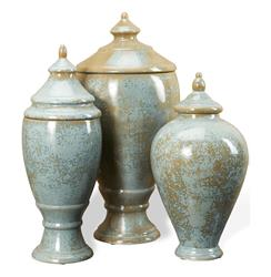 Huxley Robins Egg Blue and Brown Lidded Decorative Jars Urns