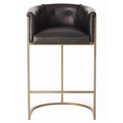 Arteriors Calvin Top Grain Black Leather Art Deco Barstool